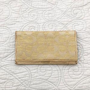 Coach Gold Checkbook Wallet Billfold